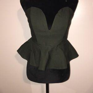 Tops - Dark Army green corset top with ruffle bottom